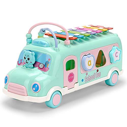 Nlatas Jouets pour bébés Forme Tri Bump Go Action Bus Education précoce Jouets Puzzles Jouets pour bébés pour 12 3 4 Ans Garçons Filles Enfants,Green