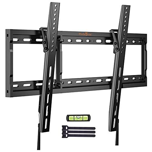 Perlegear TV Wandhalterung, Universale TV Halterung Neigbar, Fernseh Wandhalterung für 37-70 Zoll Flach & Curved Fernseher oder Monitor bis zu 60kg, max. VESA 600x400mm