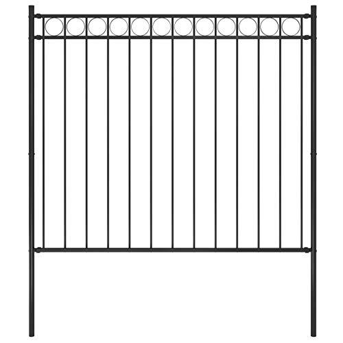 Irfora Gartenzaun Stahlzaun Metallzaun Zaunelementen Dekorative Verzinktem Stahl 1,7x1,5 m Schwarz