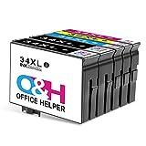 OFFICEHELPER 34XL Sostituzione Cartucce d'inchiostro, Compatibile con Epson Workforce Pro WF3720 WF3725 WF-3720DWF WF-3725DWF (2 Nero, 1 Ciano, 1 Magenta, 1 Giallo)