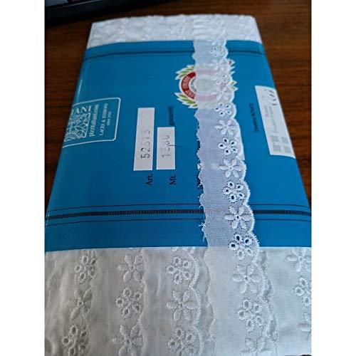 Blanco PIZZITALIANI Tira Bordada Encaje De Algodon Altura Cm.7 Paquete MT.13.80 Art.5284