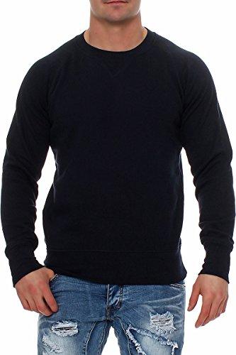 Happy Clothing Herren Pullover Sweatshirt Langarm Pulli ohne Kapuze S M L XL 2XL 3XL, Größe:3XL, Farbe:Dunkelblau