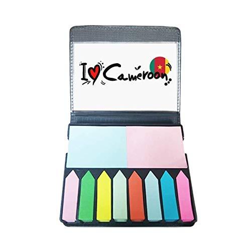 Ik hou van Kameroen Woord Vlag Liefde Hart Illustratie Zelf Stick Note Kleur Pagina Marker Box