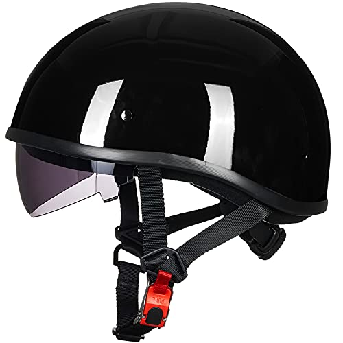 ILM Motorcycle Half Helmet with Sunshield Quick Release Strap Half Face Fit for Cruiser Scooter Harley DOT Approved