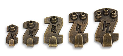 HangZ 30010B Gallery Picture Hooks 50 Pack 100 lb Antique Brass