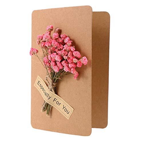 VOSAREA Main 3D Fleurs Etoilées Etendues Pliage Carte Evénement De Mariage Invitation Senior Cartes De Voeux De Noël Main Carte De Voux Artisanat en Papier (Étoile Rose)