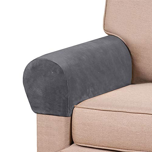 abodos Sofa Armrest Cover, Velvet Stretch Sofa Armrest Cover Thickened Home Fabric Protective Cover Solid Color Armrest Cover,gray,two pairs