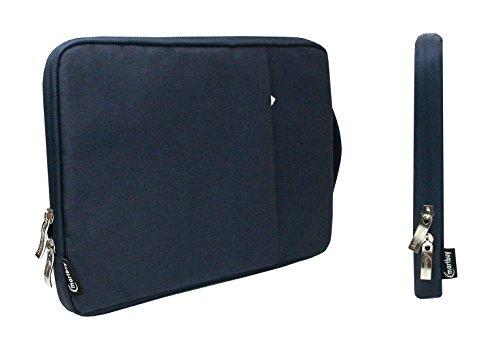 emartbuy Universal 13.3-14 Zoll Denim Dunkelblau Tasche Stoff Tragetasche Deckel mit Einziehbarer Griff & Reißverschlusstasche Geeignet für Ausgewählte Laptops Ultrabooks Aufgeführt Unten