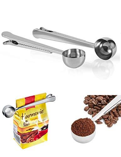 Tangyuan 2 cucharas de café de acero inoxidable,clip de cuchara de medición de café,cuchara de medición,clip de sellado de bolsa,combo multifuncional,leche en polvo,avena,cocina,oficina,escuela