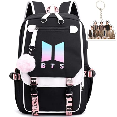 BTS School Backpack Features USB And Audio Cable Interface Breakers, Suitable For Students, Laptop Backpacks and Casual Backpack That can hold 15.6 inches Laptop Backpacks