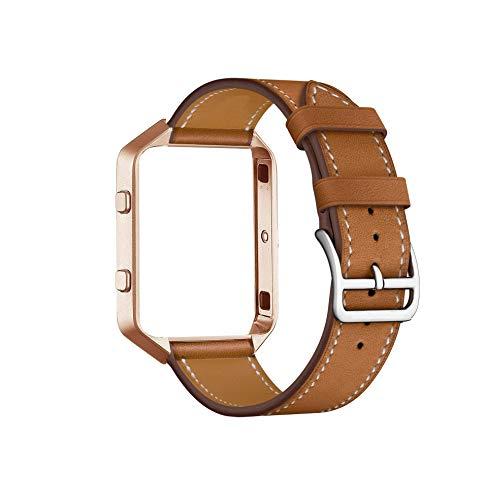 Cailin für Fitbit Blaze Riemen mit Rahmen, Echtes Leder Ersatzband mit Vintage Goldmetallrahmen (Braun)