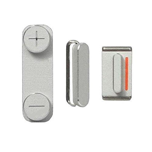 Ellenne Store - Kit de botones para iPhone 5, encendido y apagado + volumen + silencio, color plateado