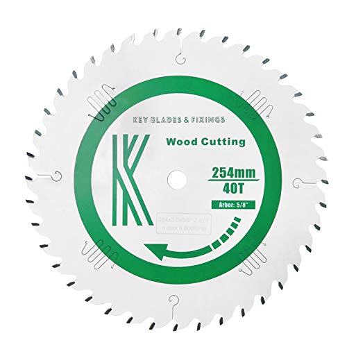 """6201 - Key Blades and Fixings 10"""" x 5/8"""" Arbor 40T Saw Blade Table saw Drop saw Blade Teflon Coated Professional Quality saw Blade Best for Quality and Price Saw Stop Compatible"""