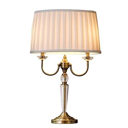 Praktische und Einfache Tischlampe Schreibtischlampe Licht Kreativer Metallkristall Praktische und Einfache Tischlampe, Runder Leinenlampenschirm, Wohnzimmer-Arbeitszimmer-Nachttischlampe im Nordisc
