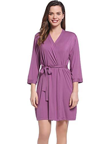 Amorbella Womens Soft Bamboo Robe Short Lightweight Bathrobe with Pockets(Dusty Purple, Small)