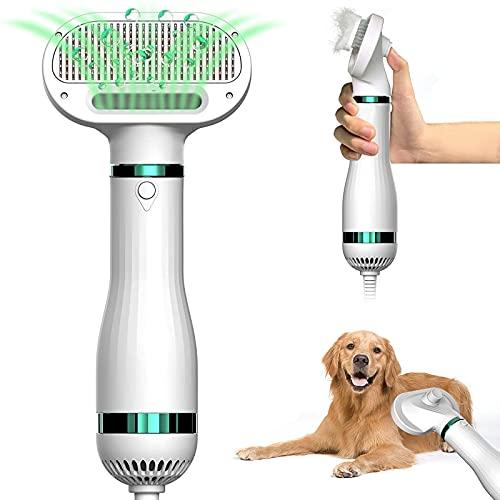 SLE Secador de Pelo del Animal doméstico Peine del Cepillo eléctrico 2 en 1,para Perros Gatos,Mango ergonómico,Temperatura Ajustable,Secador de Pelo Portátil y Silencioso con un Cepillo Práctico