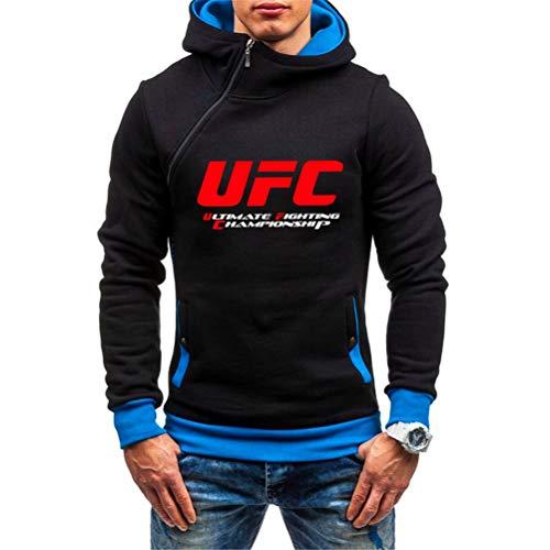 Sudadera con Capucha Impresa Sudadera con Capucha Negra con Cremallera, MMA Fitness UFC Impresa Ropa Deportiva Al Aire Libre Tapa De Manga Larga, 3 Colores (Color : Black-3, Size : Large)