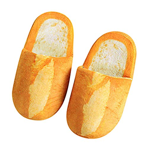Fallende Blätter kreative Baguette Hausschuhe Erwachsene Herbst und Winter Hausschuhe warmes Zuhause Schuhe Aussehen Brot Brötchen Kopf Plüsch Baumwolle Schuhe-Yellow_39
