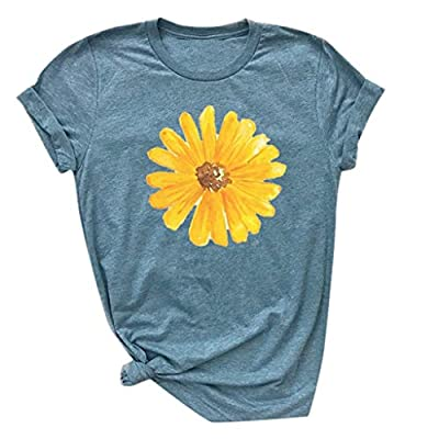Respctful ??Sunflower Tops Clothes for Women Floral Printed Graphic Print Short Sleeve Casual Tees Tops