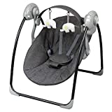 Bambisol - Electric Musical Mini Swing for Babies - 5 Speeds, 8 Melodies, Removable Play Arch (Heather Gray)