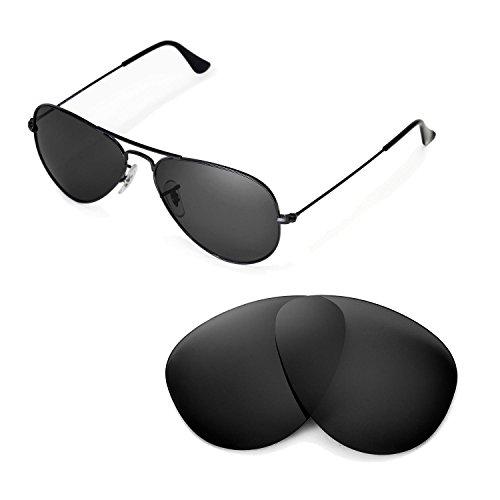 Walleva Ersatzgläser für Ray-Ban RB3025 Aviator Large Metal 55mm Sonnenbrille - Mehrfache Optionen (Schwarz - polarisiert)
