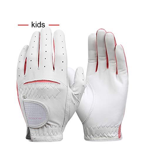 NA Golfhandschuh, Kinder Echtleder Golfhandschuh, Bionic Handschuhe, Kinder Golfhandschuhe Für Jungen Mädchen Anti Slip Rain (Pink, Blau)