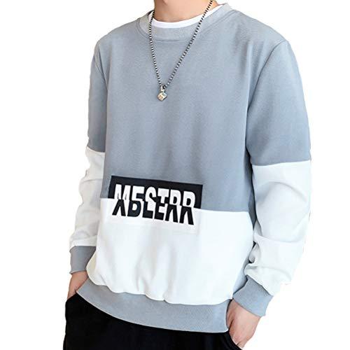 LEDSOPTIC Mens Hoodies Sweatshirt Crewneck Printed Plus Size Essentials Casual Pullover Sweater,Grey,L