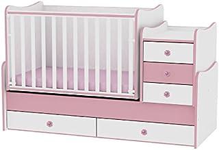 Lit bébé évolutif/ combiné Maxi Plus blanc/rose Lorelli (Le lit se transforme en lit d'adolescent, bureau, armoire multifo...