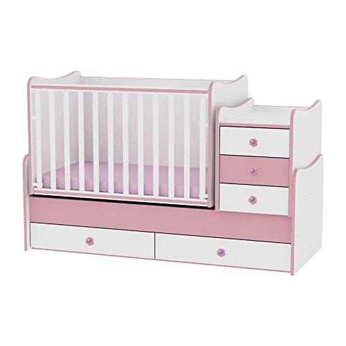 Lit bébé évolutif/ combiné Maxi Plus blanc/rose Lorelli (Le lit se transforme en lit d'adolescent, bureau, armoire multifonction)