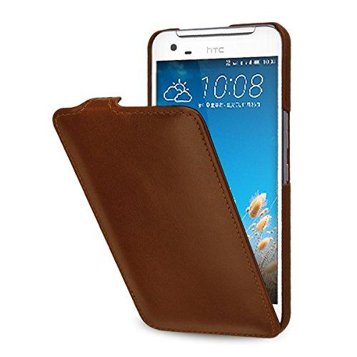 StilGut UltraSlim Hülle, Tasche aus Leder kompatibel mit HTC One X9 / One X9 Dual SIM, Cognac