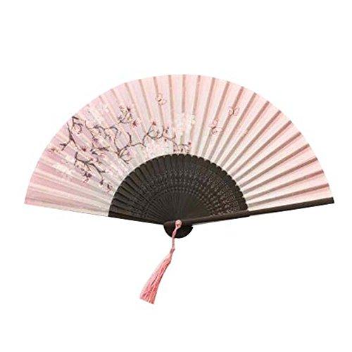 Pigeon Fleet Blume Schmetterling Handheld Faltfächer Japanischer Bambus Spin Seidenfächer für den Sommer