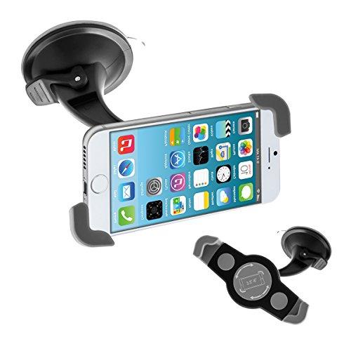 kwmobile Supporto Smartphone per auto - regolabile 12-18 cm orientabile 360° con ventosa per vetro parabrezza e superfici lisce - Sostegno universale per cellulare