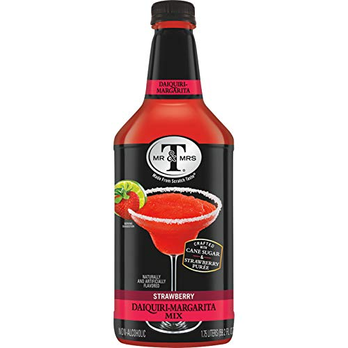 Mr & Mrs T Strawberry Daiquiri-Margarita Mix, 1.75 Liter Bottle (Pack of 6)