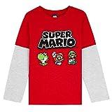 Super Mario Camiseta Niño, Camisetas de Manga Larga Azul y Roja con Mario Bros, Ropa para Niño de Algodon, Regalos para Niños y Adolescentes 3-13 Años (5-6 años, Rojo)
