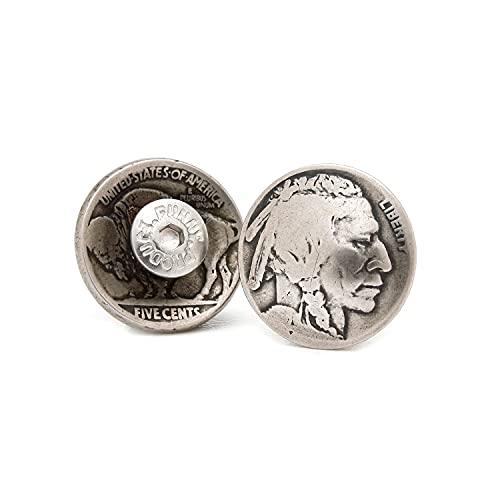 [ファニー] コイン コンチョ 5セント インディアンヘッド [ネジ式] 5 (セント) カスタム パーツ ボタン アメリカ オールドコイン ニッケル (10個セット)
