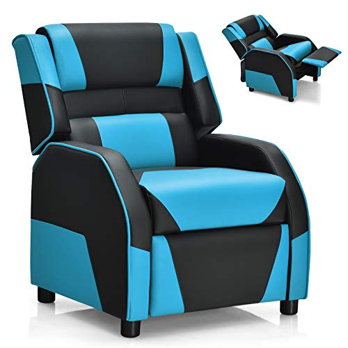 Costzon Kids Recliner, Gaming Recliner Chair w/Footrest, Headrest & Lumbar Support, Ergonomic Leather Lounge Chair for Living & Gaming Room, Adjustable Racing Style Sofa for Children Boys Girls, Blue