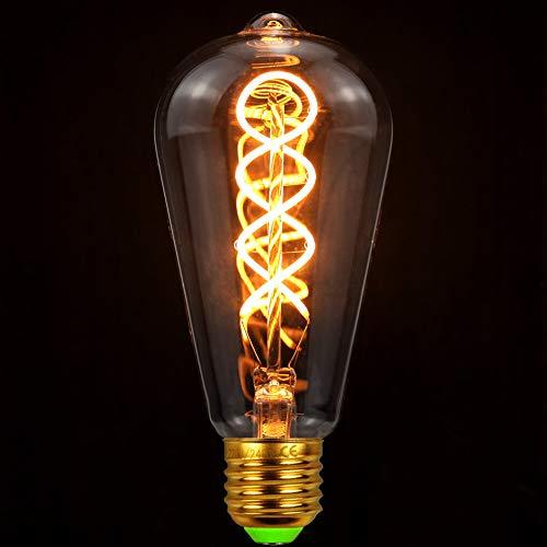 TIANFAN Led Glühbirnen Vintage Glühbirne 4W Dimmbar 220 / 240V E27 Edison Glühbirne Led Glühbirne Spezialität Dekorative Ligth Glühbirne Wärme Glow (ST64 Spiral Golden)