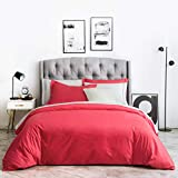 SUSYBAO 2 Piece Duvet Cover Set 100% Natural Cotton Twin/Single Size Rose Red Bedding Set 1 Solid Color Duvet Cover with Hidden Zipper & Corner Ties 2 Pillow Sham Hotel Quality Soft Breathable Durable