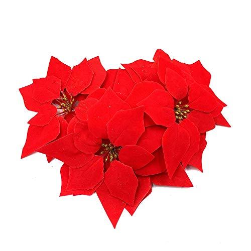 WEKNOWU - 24 Decorazioni Natalizie Artificiali Rosse A Forma Di Stella Di Natale In Finta Seta Con Testa Floreale, Diametro 20,5 Cm
