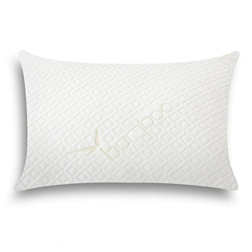 Floureon Shredded Memory Foam Pillow Ultra Plush with Bamboo Cover Removable Zippered Optimal Comfort Support Antibacterial Hypoallergenic Relieve Neck Pains, Queen (1)
