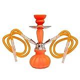 MADGROW Cachimba Neon. Naranja. Shisha de 25 cm. SÚPER Pack 10 Pastillas carbón + Gomas de Recambio + convertidor a una Manguera + sartén carbón + Pinzas con agujereador