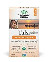 ORGANIC INDIA Tulsi Turmeric Ginger Tea - Delicious Holy Basil and Turmeric Ginger Blend Rich in Ant