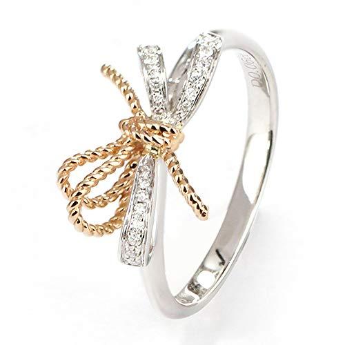 TIANRAO Anillo de Oro Blanco de 18 Quilates, Arco, Anillo de Diamante para Dama, joyería de Compromiso de Boda,15(17.3mm)