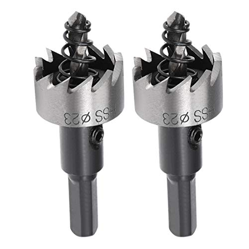 sourcingmap 2 Pcs 23mm HSS Drill Bit Hole Saw Cutter for Metal Alloy Wood