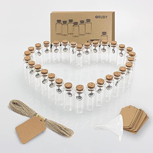RUBY 50 x 22mm/10ml/30 Kit Mini Botellas De Cristal con Corcho Botes Cristal PequeñOs,Tubos De Ensayo Cristal, Frascos De Vidrio Tapon Corcho, Set Botellas Deseo con Colgante Metal, Cuerda,Tarjeta