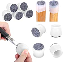 24 Pcs Silicone Chair Legs Caps - Furniture Foot Protectors - Free Moving Table Feet Covers - Stool Leg Floor Protectors Prevent Scratches and Noise (Medium, Translucence)