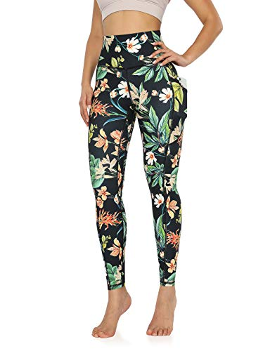 ODODOS Women's Out Pockets High Waisted Pattern Yoga Pants, Workout Sports Running Athletic Pattern Pants, Full-Length, Plus Size, Tropical Flower, XXX-Large