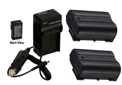 Two 2 EN-EL15 Batteries + Charger for Nikon D800, Nikon D800E D7000, Nikon D7100, Nikon DSLR 1 V1