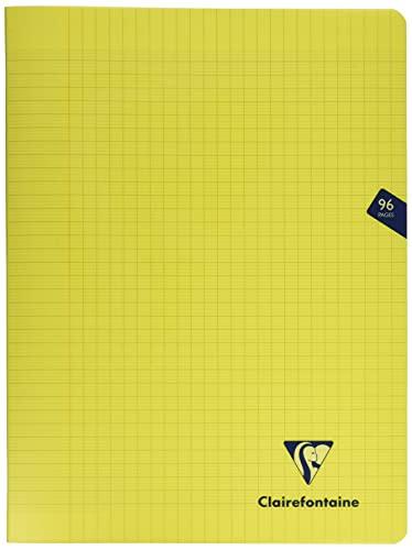 Clairefontaine 343361C - Un cahier piqué Mimesys 96 pages 24x32 cm 90g grands carreaux, couverture polypro (plastique), Jaune