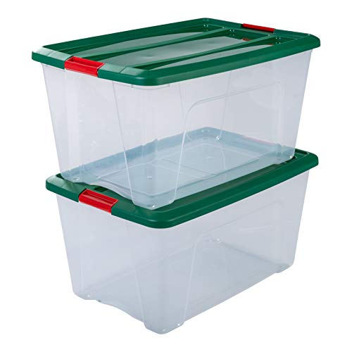 IRIS OHYAMA stapelbare Aufbewahrungsboxen mit Klickverschluss, Plastik, transparent, grün Deckel, 45 L, 2er Set